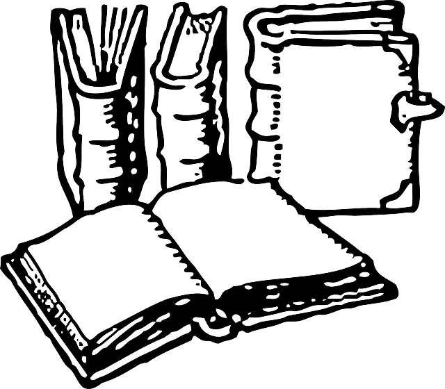 library, old, black, stack, outline, open, white, free