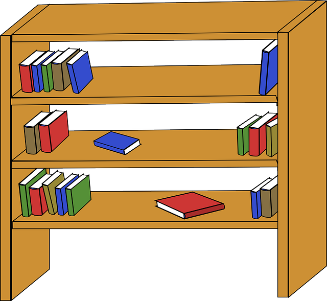 library, wooden, table, cartoon, empty, free, furniture