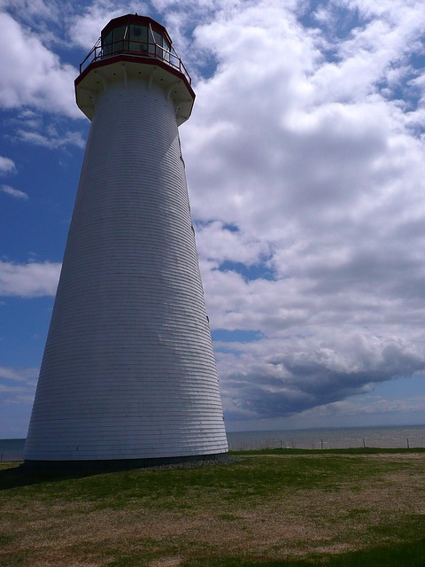 lighthouse, clouds, weather, building
