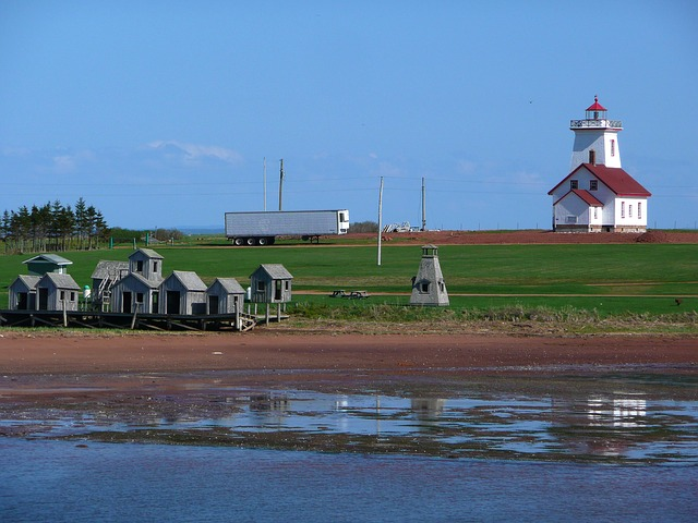 lighthouse, old fishing huts, shoreline, beach