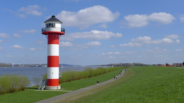 lighthouse, river, river landscape, panorama, elbe