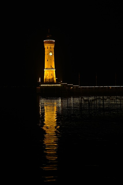 lindau, port, lighthouse, lake constance, see, water