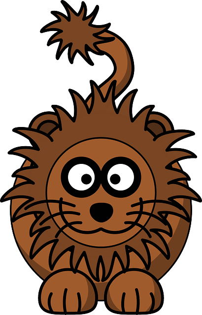 lion, animal, head, drawing, happy, face, cartoon, wild