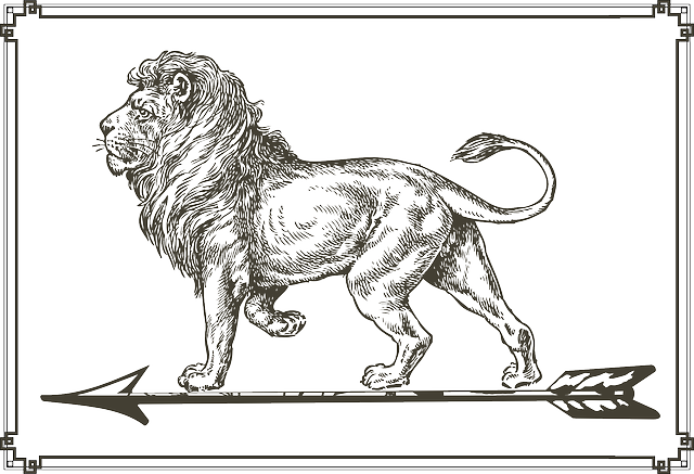 lion, arrow, standing, picture, frame