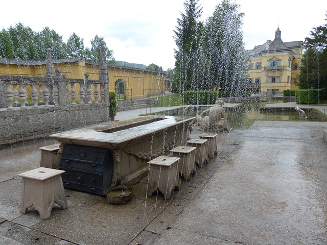 lords table, hellbrunn, water feature, marble table