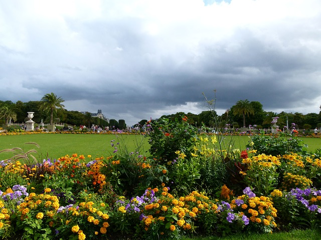 luxembourg, flowers, park, sky, clouds, people, nature