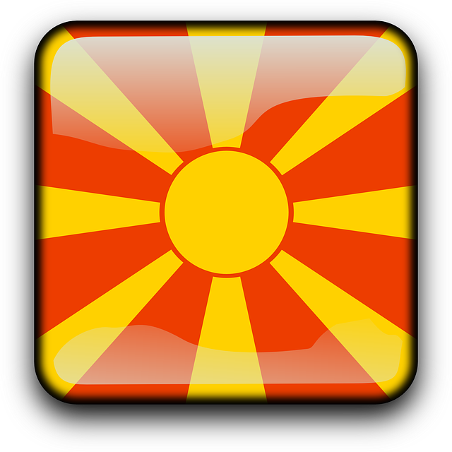 macedonia, flag, country, nationality, square, button