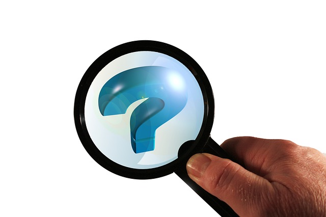 magnifying glass, question mark, globe, world