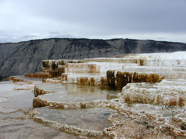mammoth hot spring, terrace, hot water, colorful