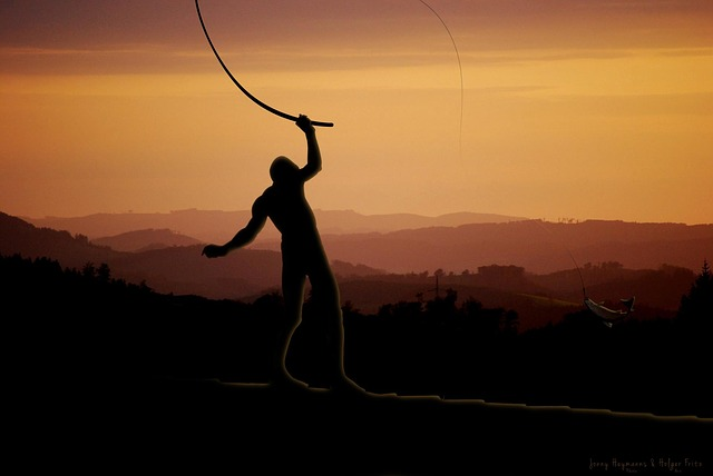 man, angler, evening sky, horizon