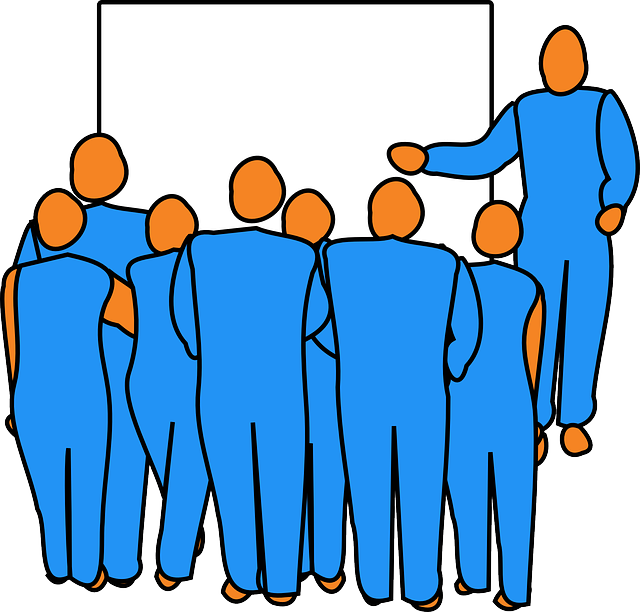 man, group, audience, pointing, presentation, presenter
