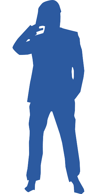 man, suit, thinking, silhouette, blue