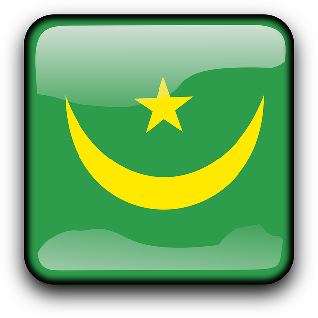 mauritania, flag, country, nationality, square, button
