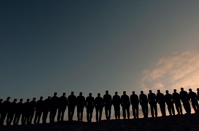 men, military, line, lined up, silhouette, silhouettes
