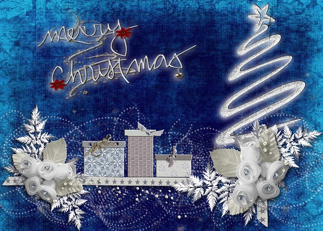 merry, christmas, xmas, card, stylish, blue, white
