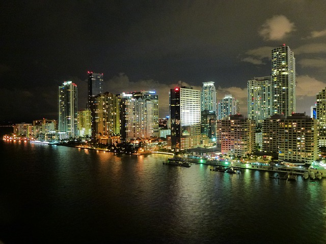 miami, florida, skyline, clouds, night