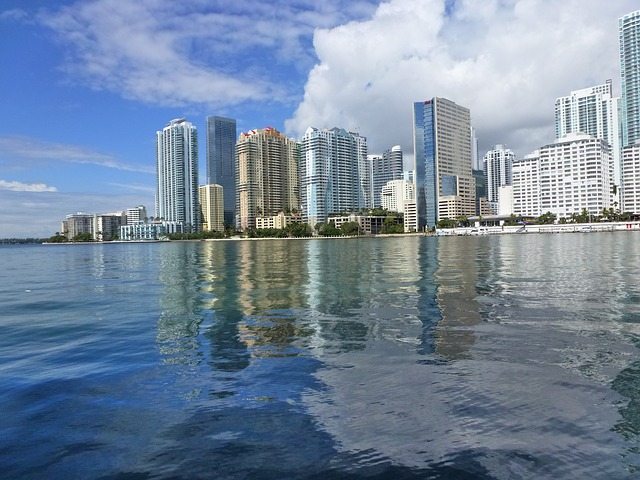 miami, florida, skyline, ocean, architecture