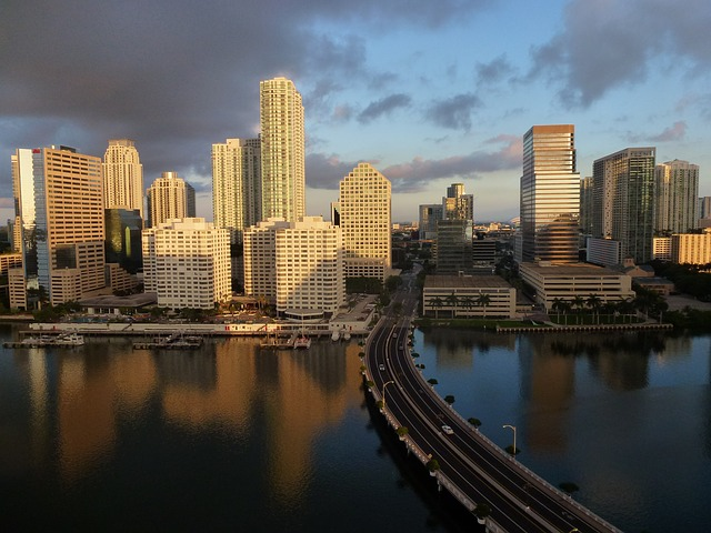 miami, florida, skyline, ocean