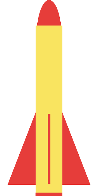 missile, rocket, weapon, simple, yellow, red