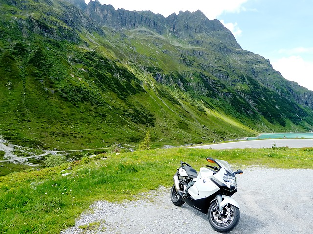 motorcycle, blue, white, green, summer, sunny, mountain