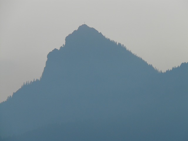 mountain, back light, haze, fog, ridge, summit, great