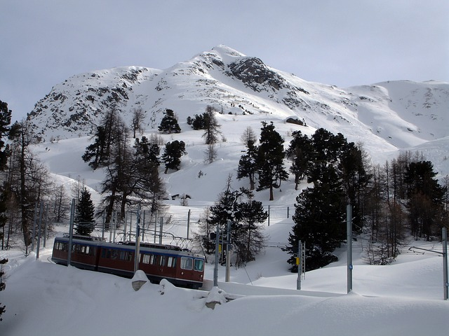 mountain, cogwheel train, switzerland, landscape