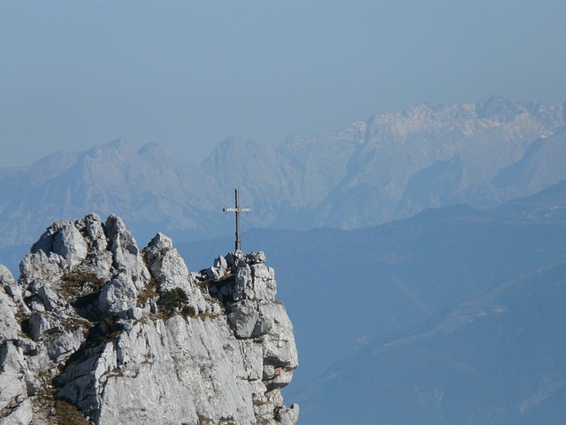 mountain, mountains, cross, summit cross, back light
