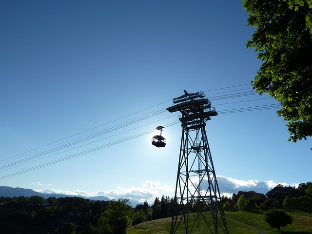 mountain, summer, gondola, sun, sunny, eclipse, cable