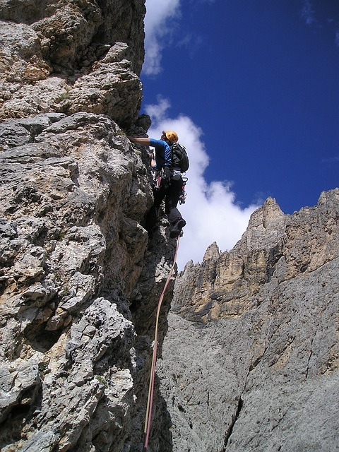 mountaineer, alpine climbing, steep, high, dangerous