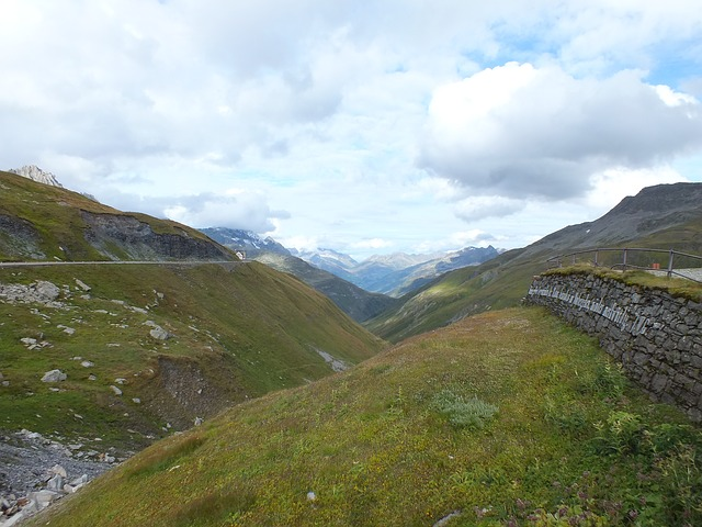 mountains, pass, sky, clouds, alpine, europe, meadow