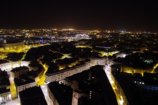 nantes, view from the top, night, streets