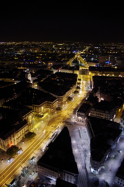 nantes, view from the top, night