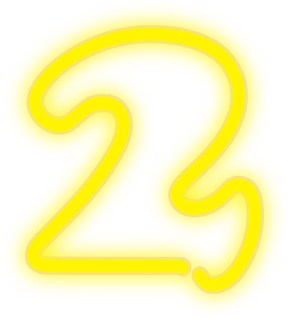 neon, 2, lights, number, yellow, electric