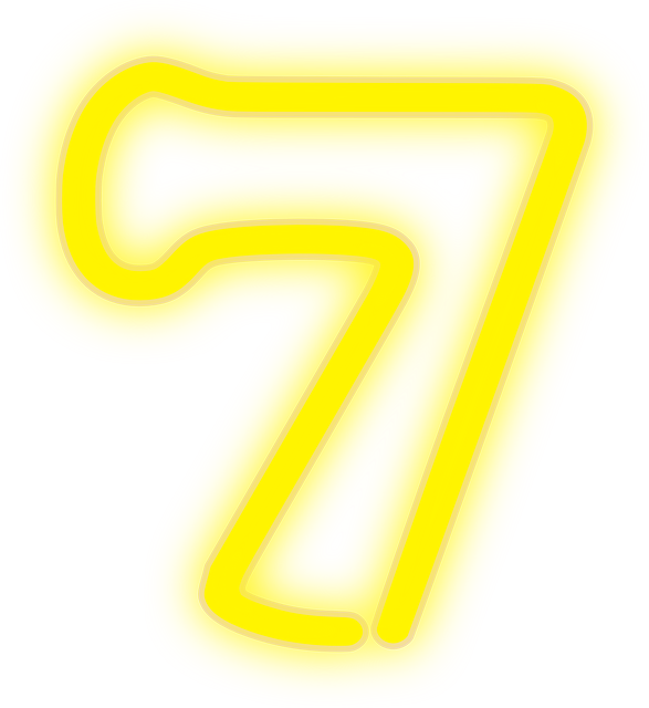 neon, 7, lights, number, yellow, electric