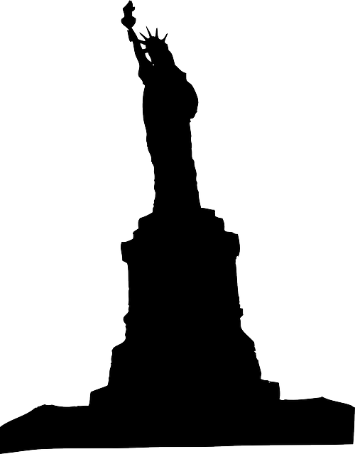 new, city, black, outline, drawing, liberty, lady