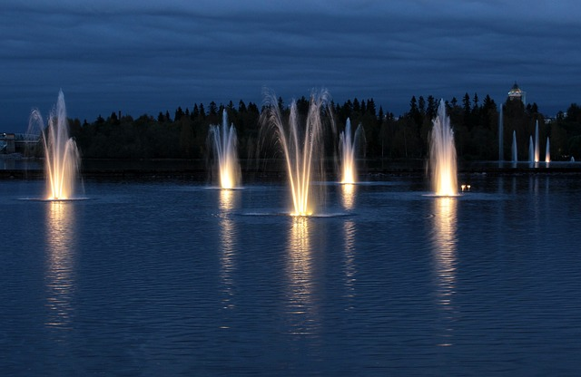 night, evening, fountains, lake, river, water, lights