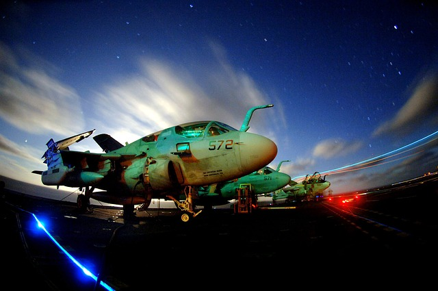 night, evening, sky, clouds, jets, fighters, lights