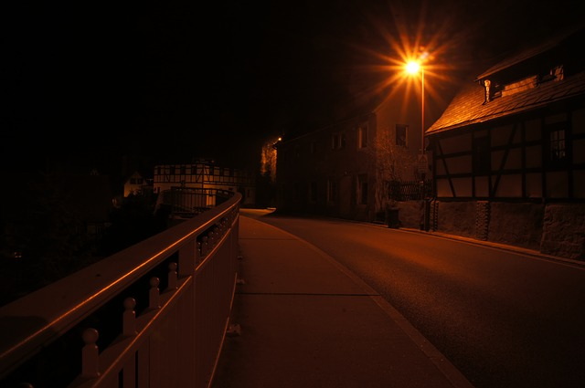 night, road, light, lantern