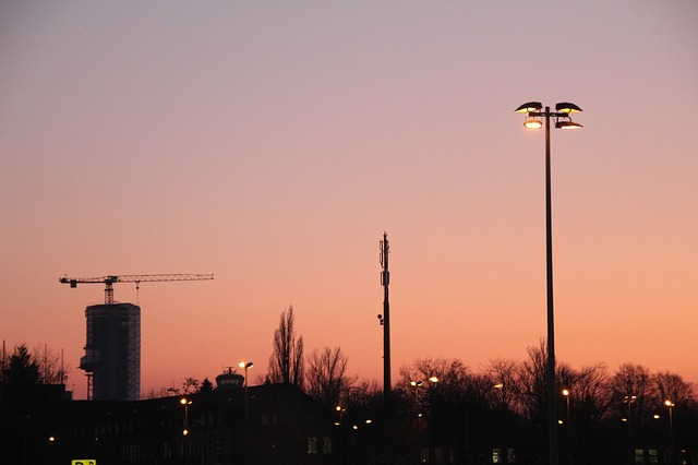night, sky, berlin, pink, evening sky, light, building