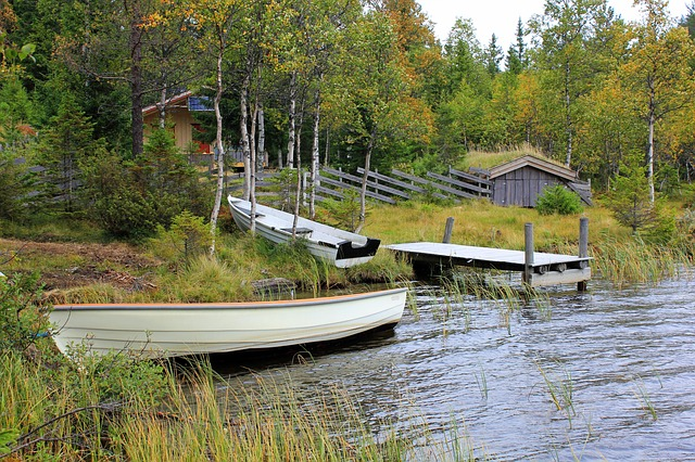 norway, lake, water, boats, dock, pier, house, home