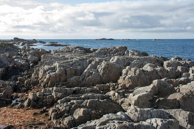 norway, rock, sea, blue, water, horizon, coast
