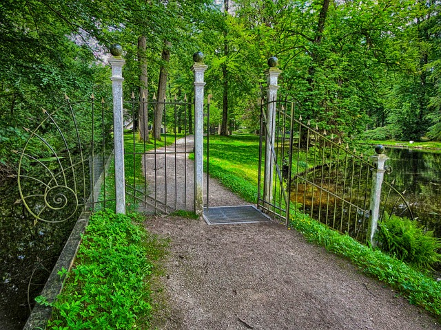 nv ermelo, the netherlands, gate, trees, path, lane