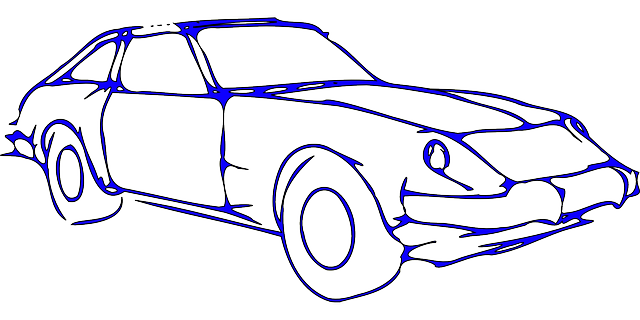 old, black, classic, outline, drawing, silhouette, car