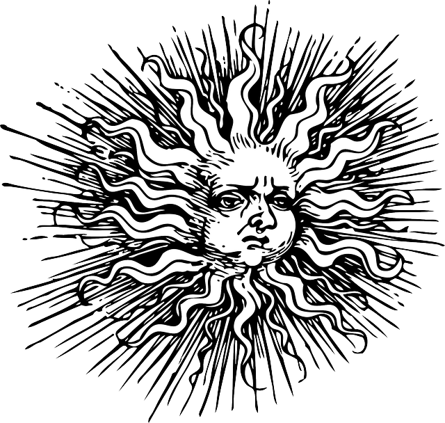 old, black, outline, moon, face, human, sun, white