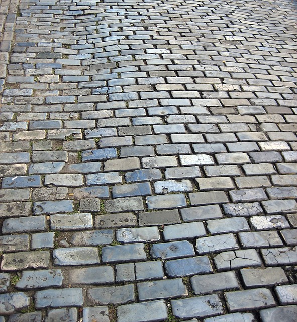 old cobblestone street, grey bricks, puerto rico, path