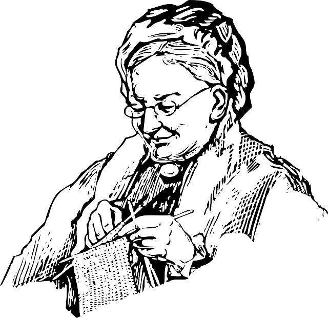 old, outline, lady, woman, face, cartoon, knitting
