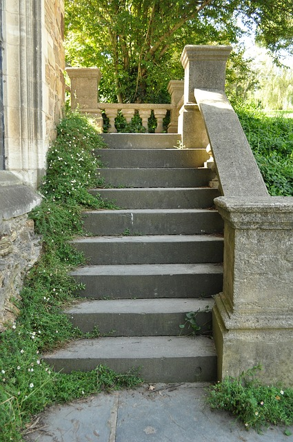 old, stone, steps, stairs, stairway, outside