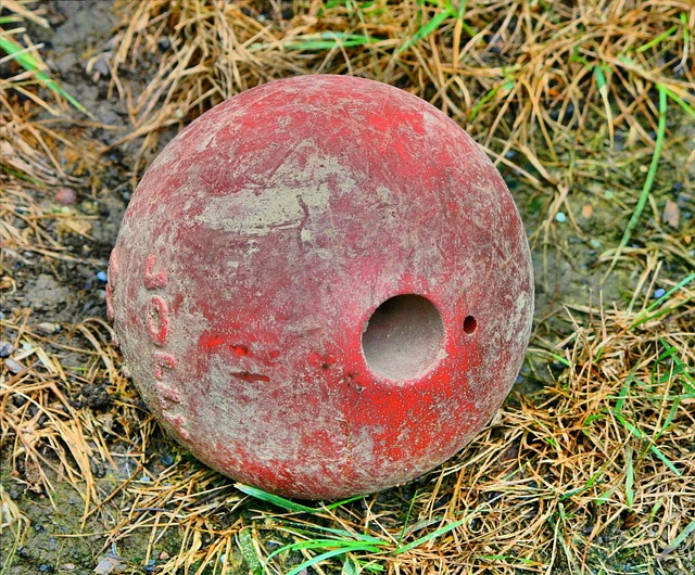 old toy, ball, muddy, dirty