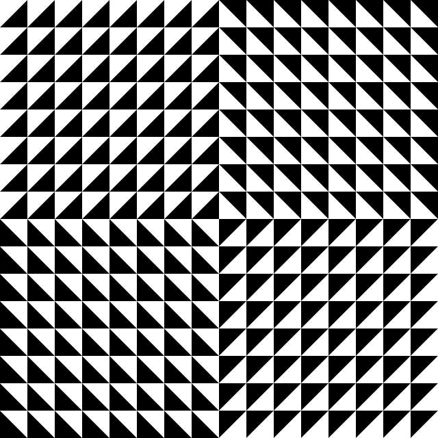 optical illusion, illusion, black, triangles, white