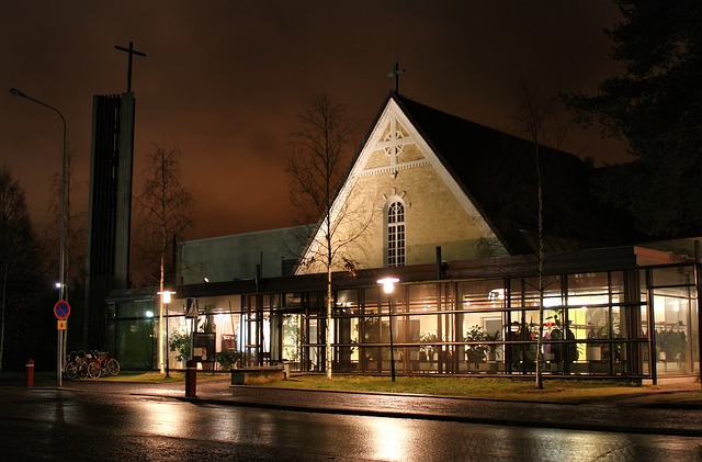 oulu, finland, church, building, architecture, night
